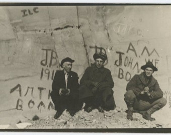 Three Pals, Rock w/ Graffiti c1910s-20s Vintage Photo (511427)