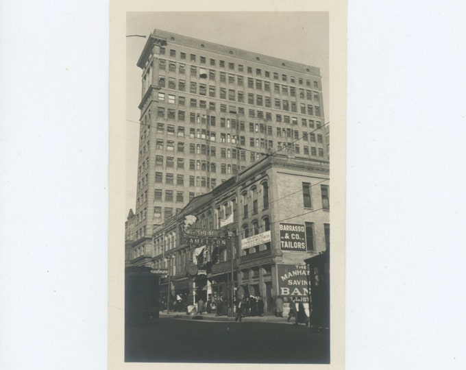 Main St. Memphis, TN Nat'l Bank of Commerce & Trust Building c1910s-20s  Vintage Snapshot Photo [71480]