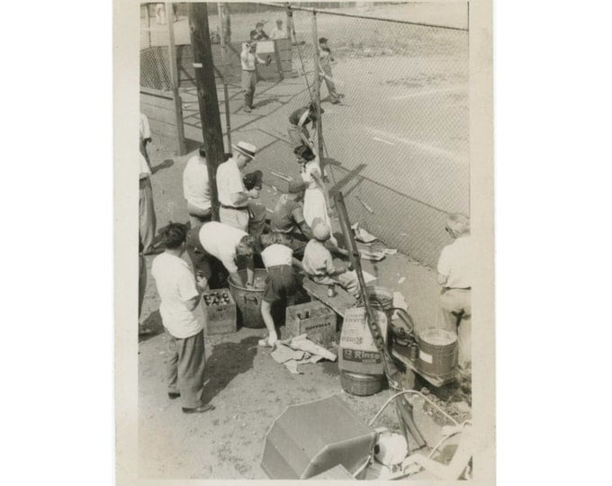 Baseball Game, Refreshments 1950s Vintage Snapshot Photo (61445)