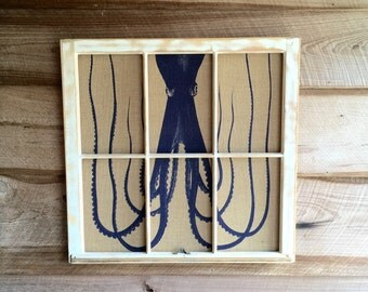 Octopus Wall Art, Reclaimed Window Frame, 32W x 31H