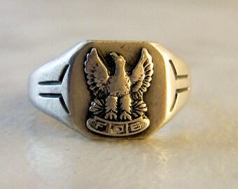 Vintage Sterling Silver Mens Fraternal Order of Eagles     Size 11 3/4