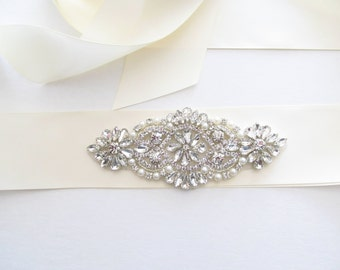 Crystal Beaded Bridal Sash / Rhinestone Bridal Sash /  Ribbon Sash / Beaded Rhinestone Bridal Sash