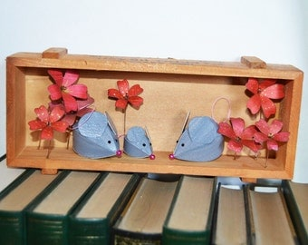 Family of Mice in a box frame, paper sculpture wall art