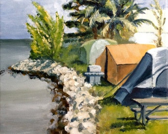 Original Oil Painting Tents on Sigsbee. 10 x 10 inches Camping in Key West