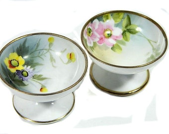 A Pair of Vintage Hand Painted Nippon Individual Pedestal Salt Dishes