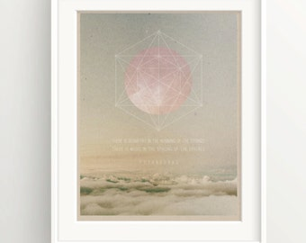 """Pythagoras Sacred Geometry Quote Print - """"Humming in the strings... """" - Pink Moon over Clouds - Spirituality - Meditation"""