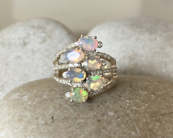 Multistone Opal Statement Ring- Triple Band Gemstone Ring- Unique October Birthstone Ring- Natural Opal Stacking Ring- Sterling Silver Ring