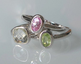 Gemstone Stack Ring- Stack Ring- Mothers Ring- Birthstone Rings- Amethyst Ring- Tourmaline Ring- Peridot Ring- Stackable Rings- Silver Ring
