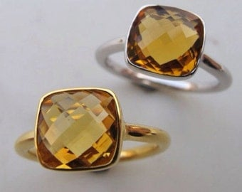 Faceted Citrine Ring- Silver Citrine Ring- Stone Ring- Gemstone Ring- Yellow Topaz Ring- Stacking Ring- Yellow Stone Ring-Orange Quartz Ring