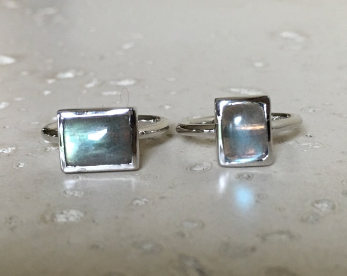 Cabochon Rectangle Labradorite Ring- Vertical Horizontal Bezel Ring- Sterling Silver Gemstone Bohemian Ring- Boho Gypsy Unique Stone Ring