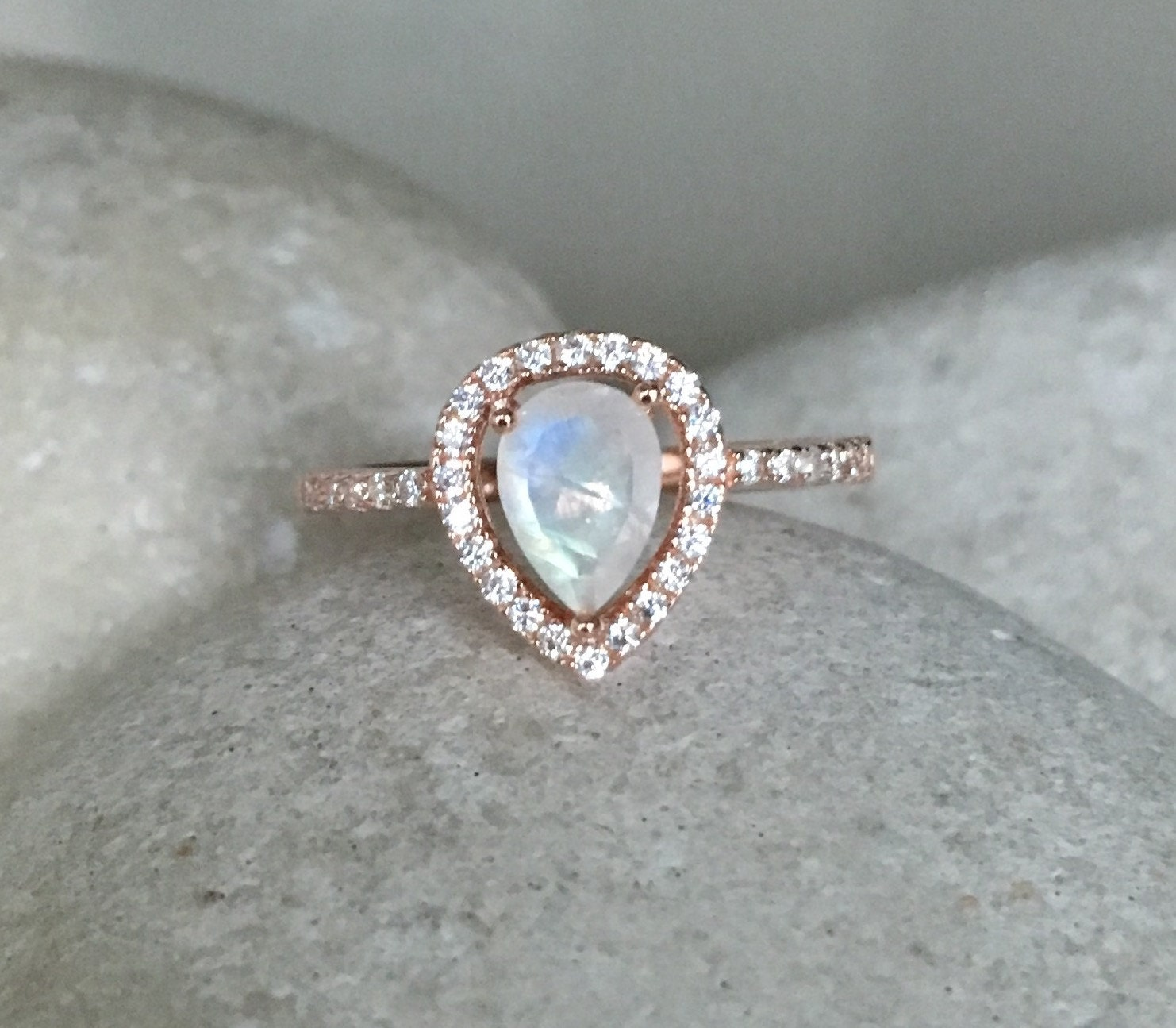 Rainbow Moonstone Engagement Ring Rose Gold Wedding Ring