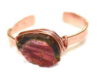 Watermelon Tourmaline Ring Tourmaline Slice Ring Rose Gold Vermeil Ring Adjustable Ring Tourmaline Slice Tourmaline Jewelry Delicate Hammer