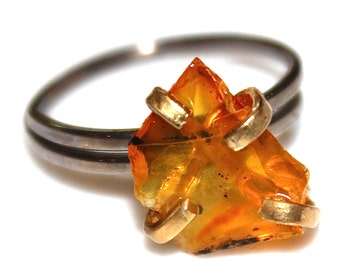 Raw Citrine Ring Rustic Citrine Ring Modern Ring Delicate Ring Hammer Cut Ring November Birthstone Gold Ring Adjustable Ring Citrine Jewelry