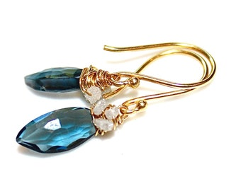 London Blue Topaz Earrings Rough Diamond Earrings Wire Wrapped Everyday Earrings Gemstone Jewelry December Birthstone