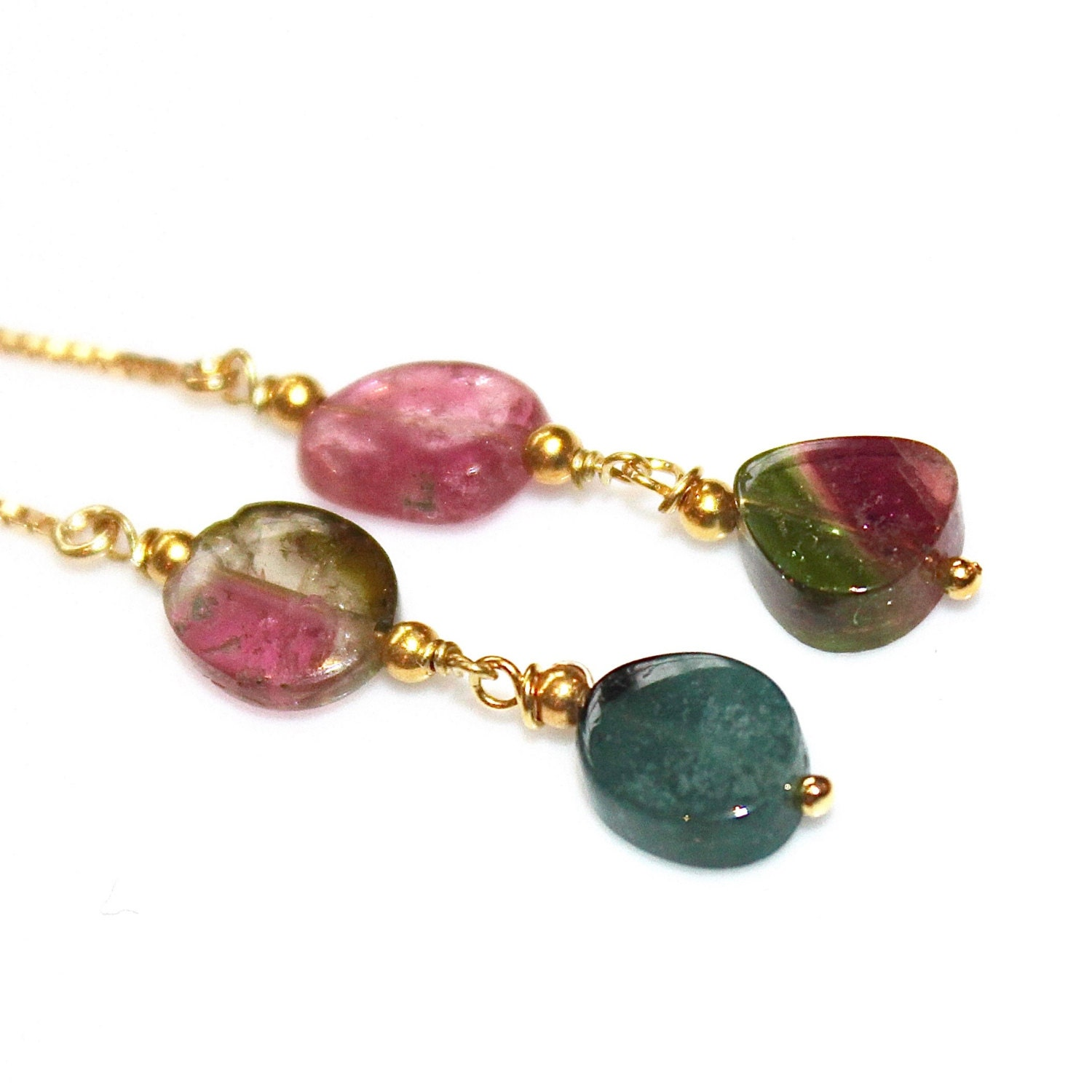 watermelon tourmaline earrings rainbow tourmaline by fizzcandy