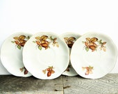 Vintage China - 4 Matching Saucers - Autumn Leaves - Gold Rim - Fall Wedding