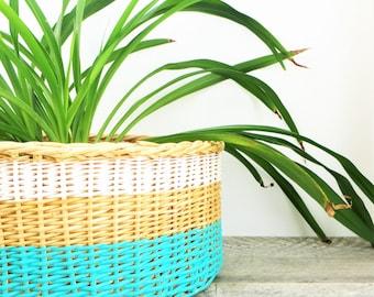 Turquoise Painted Basket - Beachy Chic - Turquoise White - Fresh Modern Basket