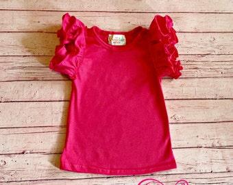 Shocking Pink Flutter Sleeve Shirt - monogrammed flutter tank - m2m sew sassy
