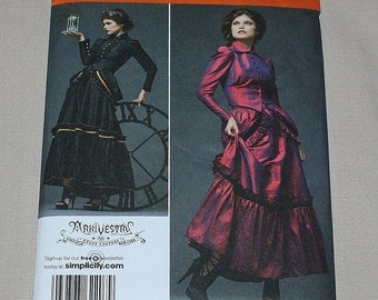 Simplicity 2207 Victorian Steampunk Costume RR 14 16 18 20 Jacket Skirt Bustle Arkivestry Haunt Couture