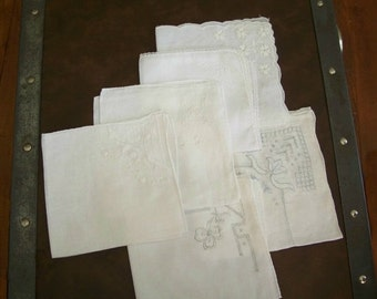 Six Vintage White Hankies Handkerchiefs Embroidered