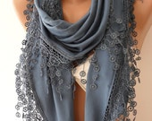 Gift for Her Scarf Navy Blue Cotton Scarf Venice Lace Fall Winter Scarf Women Gift for Women Winter Scarves Womans Gift Womens Gift