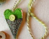 Green Vintage Fabric and Vintage Button Heart Intention Necklace/Ornament