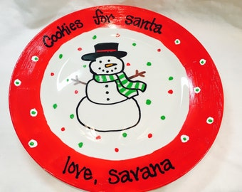 Cookies for Santa Plate, Personalized With Names, Christmas Snowman Plate