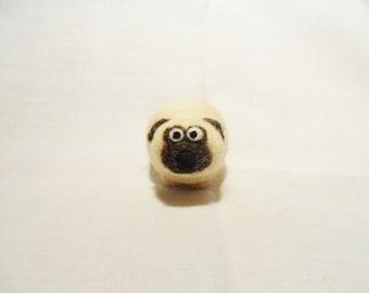 Needle Felted Pug -  miniature pug dog figure - 100% merino wool - wool felt dog - needle felted animal - felt dog - minature pug