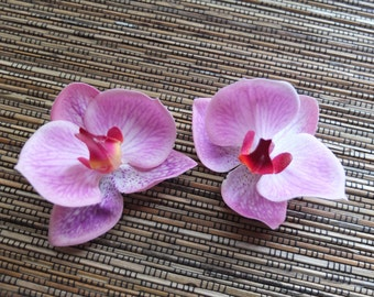 A Pair of Pink Orchid Hair clip, Wedding Accessories,  pink phalaenopsis orchid Headpiece