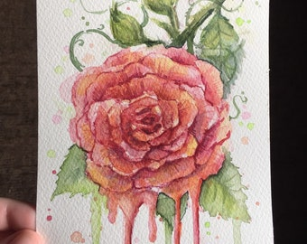 Red Rose Watercolor Painting, Original, Dripping Flower, Floral Art, 5x7