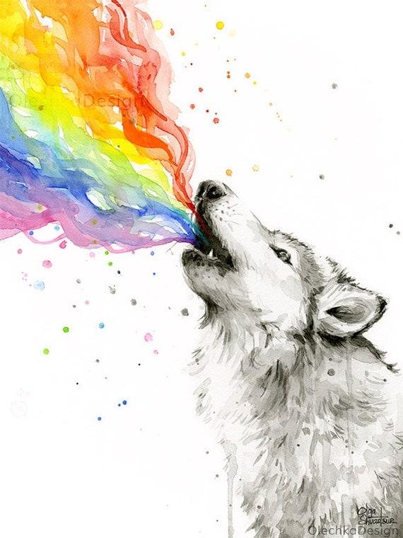 Wolf Watercolor, Rainbow Animal, Howling Wolf, Art Print, Wolf Painting, Wolves Artwork, Whimsical Animal, Wolf Print, Wolf Nursery Art
