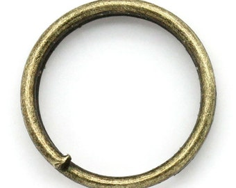 50 Pieces Antique Bronze Split Jump Rings 8mm, 15 Gauge