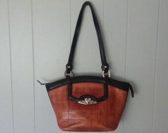Vintage MC brown & black leather western handbag, croc pattern hand tooled designer shoulder bag purse braiding on pocket and handle satchel