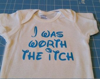 "Custom ""worth the itch"" baby onesie, ICP awareness short sleeve bodysuit"