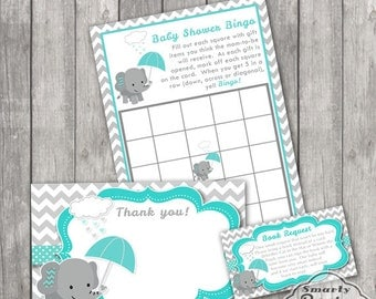 Matching Elephant Baby Shower Thank You Card Note Diaper Raffle Bingo Game Card Book Request Insert Teal Gray Printable