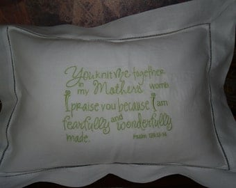 Exquisite Linen Hemstitched Baby Pillow For Babys Nursery With Psalm 139 Embroidered
