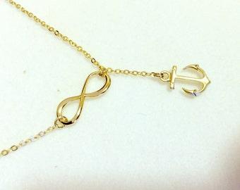 Anchor necklace,silver or gold anchor necklace,silver or gold sideways infinity anchor necklace,infinity with  anchor necklace,sailors
