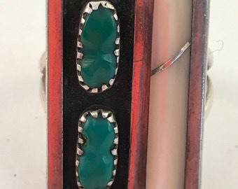 Vintage Florentine Panteah (1947-1987) turquoise and inlay ring size 7
