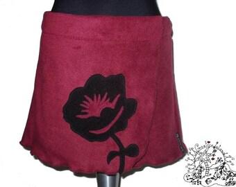 Fleece SKIRT * FloWer *  XS/S/ 32-36 wrapskirt * RosE *
