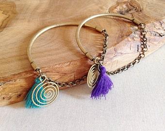 Boho Bronze Bangle Bracelets Swirls and Tassels Set of 2