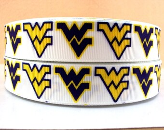 "7/8"" West Virginia University Ribbon - 3 yards"