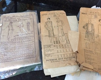 ANTIQUE VINTAGE PATTERNS- 3 in All, Sewing Patterns, Fashion 1920s Sewing Patterns, Dress Pattern at Ageless Alchemy