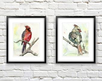 Cardinal Art Prints - Watercolor Birds Print Set - Colorful Wall Art - Nature Inspired Art - Modern Bird Art - Gift For Bird Lover