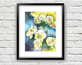 Navy Blue and Yellow Watercolor Flower Painting Art Print