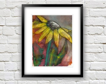 Sunflower Painting- Art For Walls- Colorful 8x10 Print- Yellow, Purple, Pink