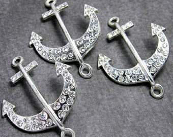 4 Anchor Connector Charms in Silver Rhinestone Connector Anchor Charm 42 x 32mm,  RC238