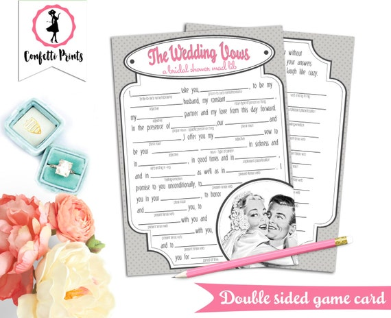 Retro Bridal Shower Game | Bridal Shower Mad Libs - THE WEDDING VOWS | Printable Shower Game | 50s Housewife Game | 1950s