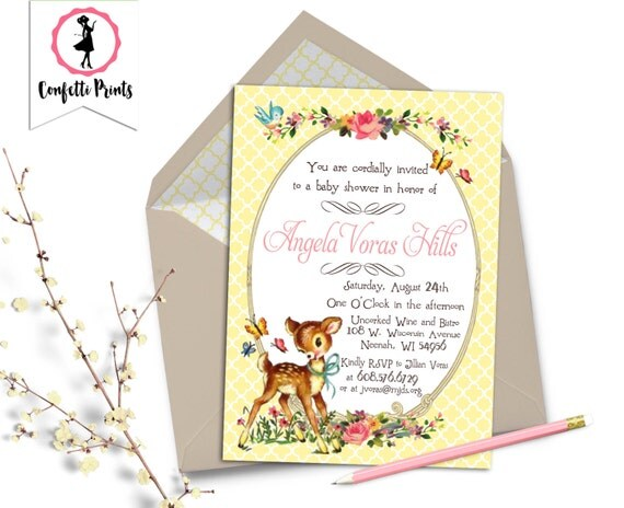 Woodland Baby Shower Invitation | Baby Deer Shower Invitation | Forest Animal Baby Shower Invitation | Vintage Baby Shower - FANCY FAWN