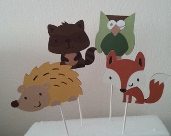 Woodland Animal Baby Shower- Woodland Animal Birthday Party- Woodland Animals Cake Topper Set- Forrest Animals Centerpiece Set