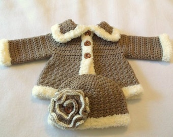 Crocheted Baby Girl's Sweater and Matching Hat Baby Jacket Crocheted Baby Jacket and Hat Baby Girl's Crocheted Sweater Set Layette
